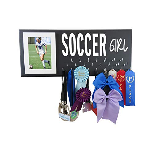 - Soccer Medals Holder Rack - Display Hanger for Ribbons and Awards - The Best Accessory/Equipment Gift for Players - Soccer Girl