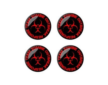 Zombie Outbreak Response Team Red - Set of 4 Stickers - Apply to any surface Badges Wheel Center Cap
