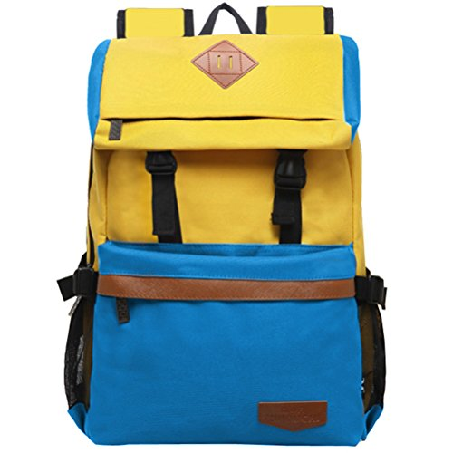 Jane Simple kinouchi Desinger impermeable mochila para adolescente Escuela Bolsas para las niñas en 16colores azul G-bluepinkb1 H-yellowblueb1