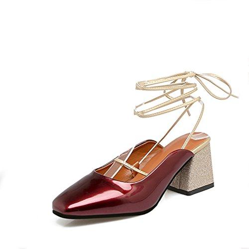 Baotou Moda Zapatos De Verano,Rojo Con Tacón Grueso Sandalias Rojo