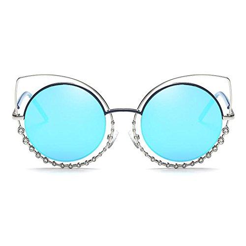 Inlefen métal de femmes cadre Mode plat en Eye lunettes rond Bleu lunettes miroir soleil Cat lentilles de pour les rnrCwzxTOq