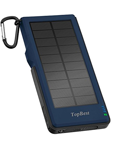 Solar Charger, 12000mAh Portable Phone Charger with Quick Charge 3.0, TopBest Solar Power Bank with 2 Fast Charging USB Port and LED Flashlight for Emergency, Camping and All Smartphone Tablet (Blue) by TopBest