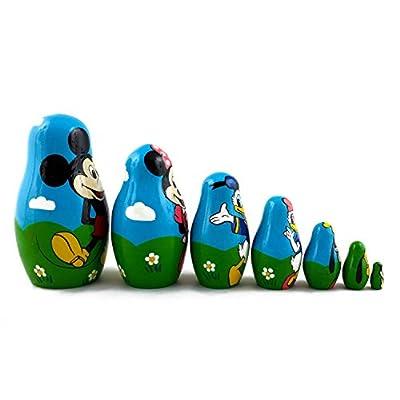 Matryoshka Babushka Russian Nesting Wooden Stacking Doll Characters Mickey Mouse Donald Duck 7 Pcs: Toys & Games