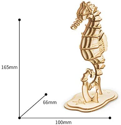 Home Desk Decoration RoWood 3D Wood Craft Kits Sea Horse 33 Pieces Educational Toys Gifts for Children Teens Boys and Girls Her Him