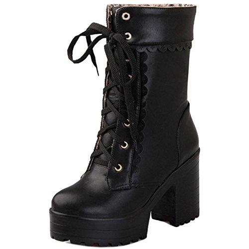 COOLCEPT Moda Cordones Plataforma Botas Chunky Heel Zapatos para Mujer Black
