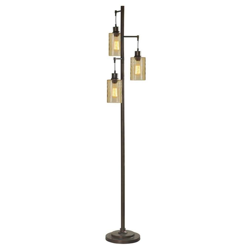 StyleCraft 72-Inch 3 Glass Shade Bronze Champagne Pendant Dimple Floor Lamp by Stylecraft