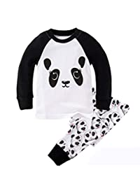 "Babylike ""panda"" little boys 2 Piece Pajama 100% Cotton(Size 2-7 Years)"