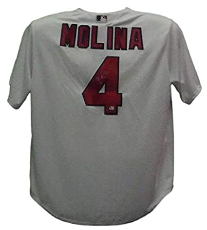 sports shoes a02d0 6a1db Autographed Yadier Molina Jersey - Majestic White Replica ...