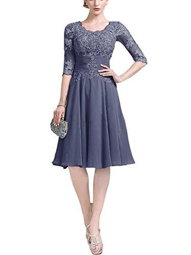 Chiffon Ruffle Neck Dress (Doramei Women's Knee Length Chiffon Lace 3/4 Sleeve Ruffle Mother Formal Evening Dress Stormy 20w)