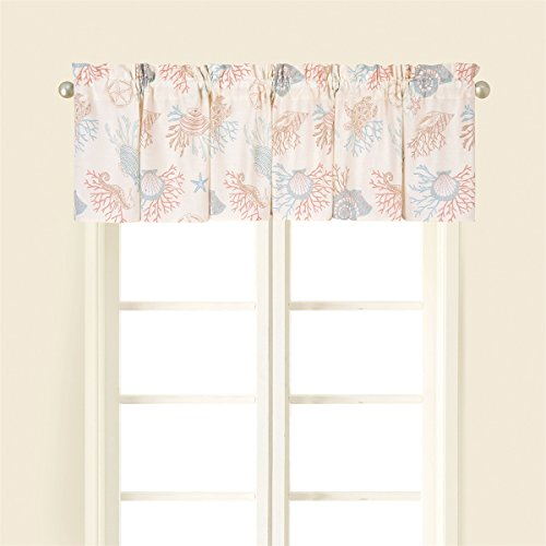 (Seabrook Window Valance Printed Cotton 72 X 15.5 Inches Starfish Shells Coral)