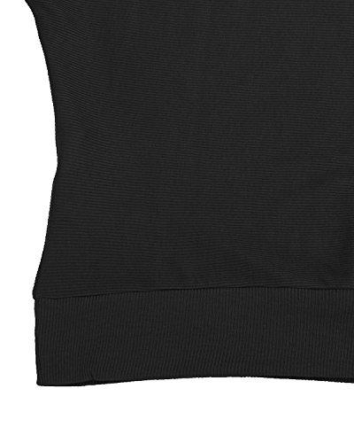 Elegante Nero Basic Maglietta Top shirt Maglia Manica Loose Lunga Styledome Donna Ufficio Casual T cq0TOwWBS