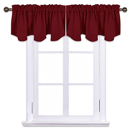 NICETOWN Kitchen Blackout Window Valances - Short 52 inches x 18 inches Scalloped Rod Pocket Valance Curtain Tiers for Christmas & Thanksgiving Gift Window Home Decoration, Burgundy 2 Panels (Solid Valance Red Window)