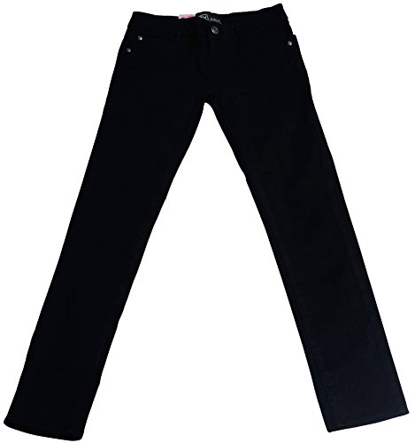 Hey Collection Big Girls Brushed Stretch Twill Skinny Jeans,14,Black (Twill Jeans Black)
