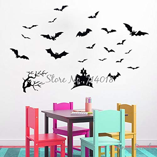 Bats Own Tree and Haunted House Halloween Wall Decal Festival Wall Decor Kids Playroom Wall Tattoo Art Vinyl Stickers -