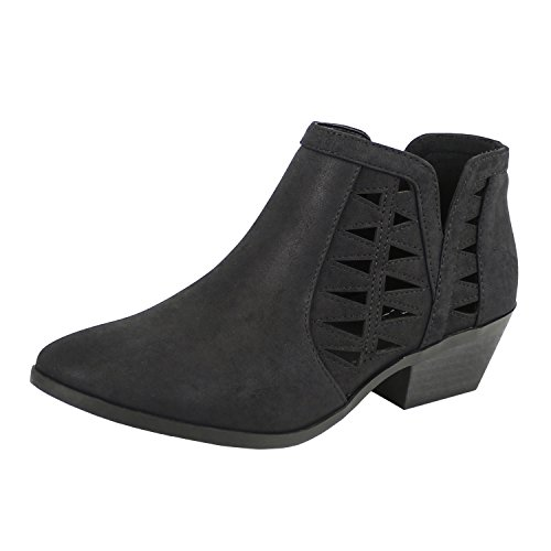 SODA Women's Perforated Cut Out Stacked Block Heel Ankle Booties