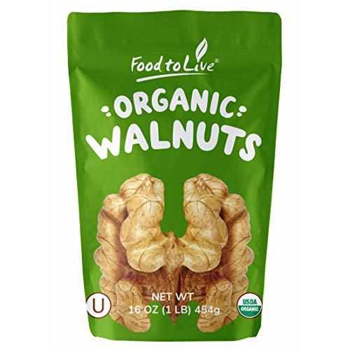 Food to Live Organic Walnuts Shelled (Kosher, Bulk) - 1 Pound