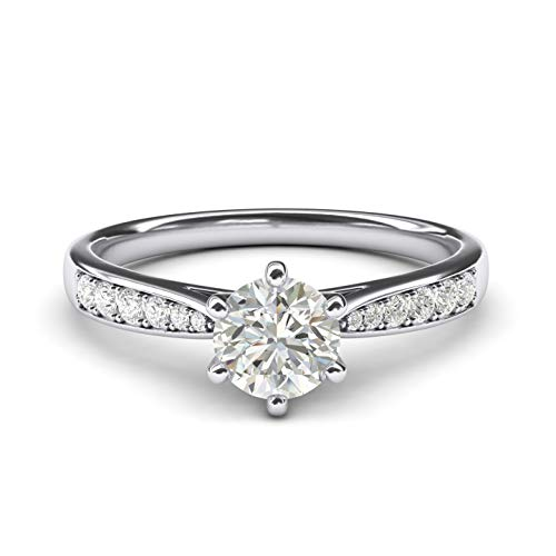 14k white gold 1.0 CT Classic 6-Prong Simulated Diamond Engagement Ring Graduated Side Stones Promise Bridal Ring - White Setting Gold Engagement