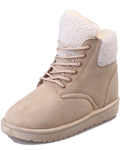 Beige Boots Warm Lace Shoes Up Snow Boots Autumn Fashion Women Minetom Padded Round Martin Boots Cotton Toe Winter nHOBwqTwS