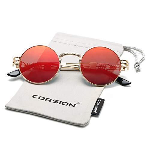 COASION Vintage Round John Lennon Sunglasses Steampunk Gold Metal Frame Clear Sun Glasses (Gold Frame/Red Mirror ()