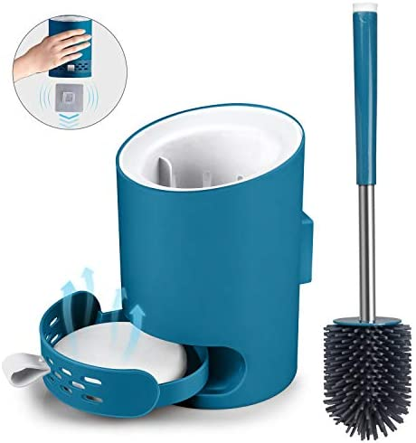 MANGOTIME Toilet Brush and Holder Set Toilet Bowl Brush for Bathroom Toilet Rim Cleaning Compact Wall Mounted Toilet BrushAbsorbent Diatomite Mat Silicone Bristles Water Drawer Blue
