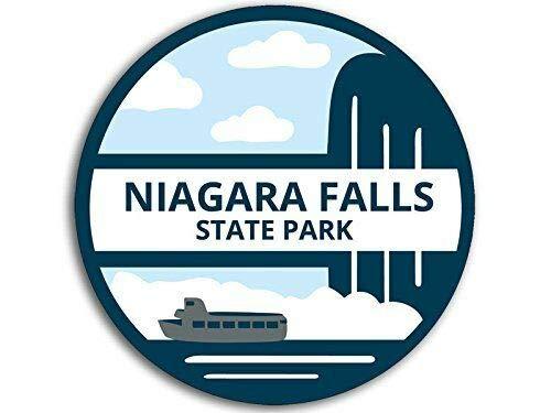 - MAGNET 4x4 inch Round BLUE ARTSY Niagara Falls State Park Sticker - ny falls us york rv Magnetic vinyl bumper sticker sticks to any metal fridge, car, signs