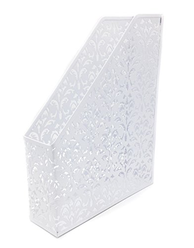 EasyPAG Carved Hollow Flower Pattern Magazine Holder Office Desk File Organizer , White