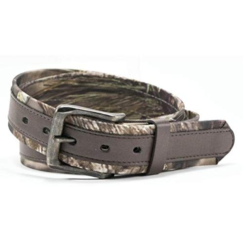 Logoed Mens Belt Buckle - Mossy Oak PU Leather Belt with Overlay Down the Center and Logo'ed Rivits and Buckle Color Brown Camo Break Up Country BE04499AQ (42)