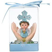 """Lunaura Religious Keepsake - Set of 12 """"Boy"""" Baby on Palm Wearing Color Clothes Praying Favors - Blue"""
