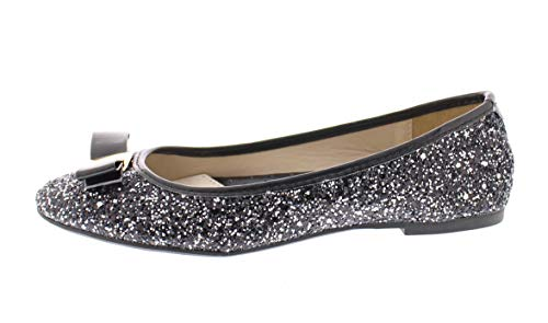 Gold Toe Women's Tempest Metallic Sequin Sparkle Ballet Flat Slipon Dress Pump Bow Ballerina Skimmer Shoe Black 11 US