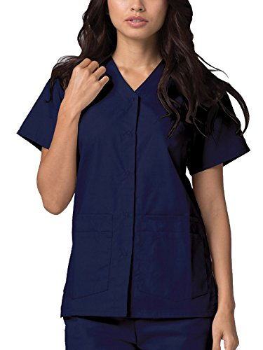Snaps Front Durable (Adar Universal Double Pocket Snap Front Top (Available in 39 colors) - 604 - Navy - 2X)