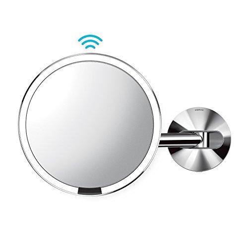 simplehuman Wall Mount Sensor Makeup Mirror, Polished Stainless Steel -