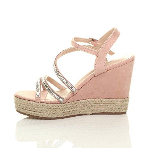 Damen Plateau Pink Riemchen Diamante Ajvani Größe Damen Espadrilles Sandalen Keilabsatz Axw5Cp56q
