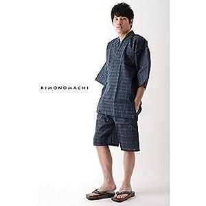 [ 京都きもの町 ] 男の夏甚平(じんべい) 涼やかなメンズ綿麻甚平 4L 05墨黒縞