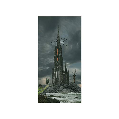 Ylljy00 Decorative Privacy Window Film/Mystery Gothic Castle Edinburgh Darkness Dramatic Sky Clouds Bat Old Building/No-Glue Self Static Cling for Home Bedroom Bathroom Kitchen Office ()
