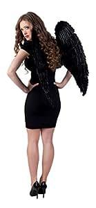 Ángel alas de plumas de las alas negras 87 x 72 cm