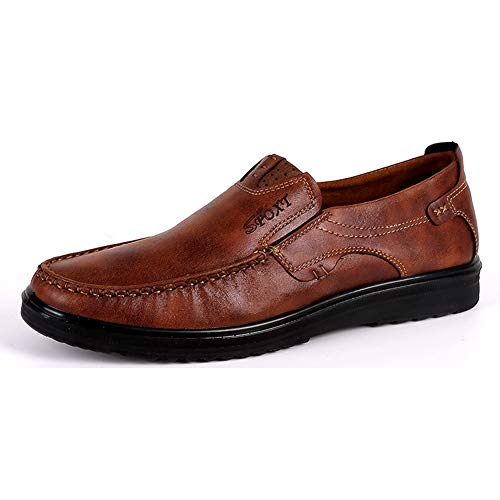 Sport Brown Flat Shoe (Asifn Mens Slip-on Loafers Dress Shoes Leather Casual Boat Shoes Walking Work Flats Summer (9.5 M US, Brown))