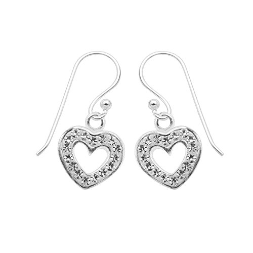 Sterling Silver Rhinestone Crystal Hollow Heart Dangle Earrings (Silver) (Earrings Sterling Heart Silver Crystal)