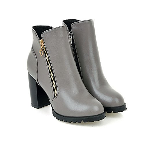 Gray Boots WeiPoot Women's Material Soft High Low Top Closed Heels Zipper Toe Round qPR7B