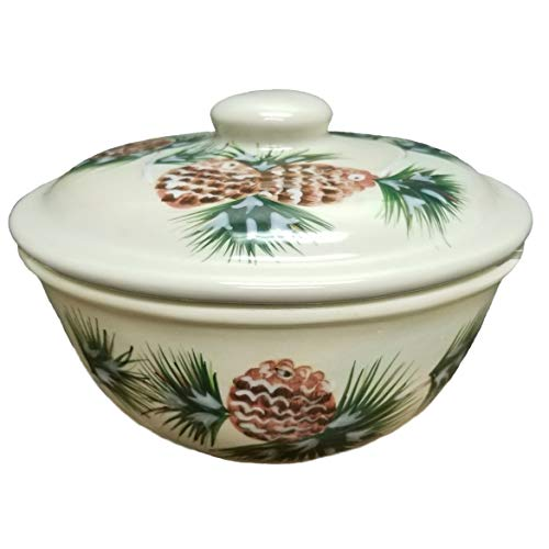 (Kaldun & Bogle Stoneware Holiday Pine Cone Covered Casserole Dish)