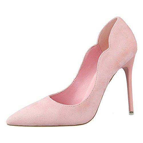 Aalardom Kvinna Frostat Spikar-stilettos Spetsiga Tå Pådrags Pumpar-skor Rosa-10.5cm