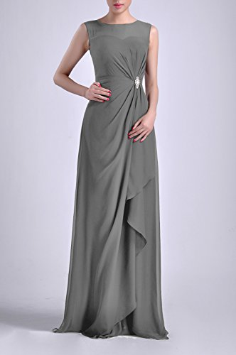 Adorona Chiffon Natrual Sleeveless Dress Women's Sheath Bateau Pewter Straps Long r76rq