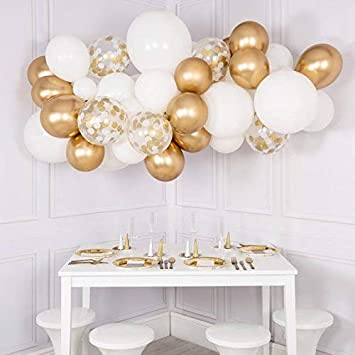 Ourworld Confetti Balloons Set Golden Set 60 Pieces 12 Inches Golden Balloons Metallic Latex Balloons Confetti Balloons for Wedding Birthday Graduation Bridal Shower Baby Shower Party Decoration