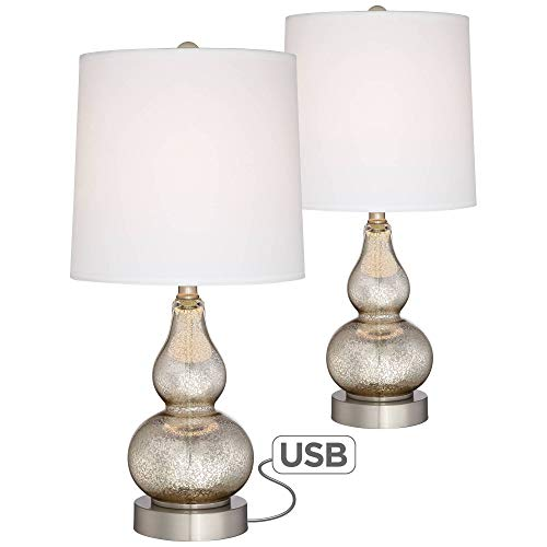 (Castine Modern Accent Table Lamps Set of 2 with USB Charging Port Mercury Glass White Drum Shade for Living Room Bedroom - 360 Lighting )