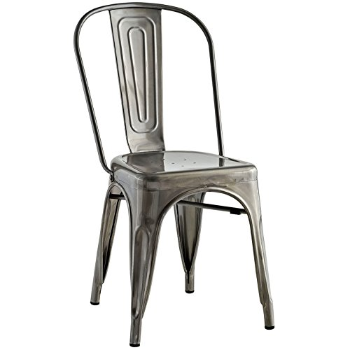 Modern Contemporary Industrial Distressed Antique Vintage Style Kitchen Dining Chair, Silver, Metal by America Luxury - Chairs