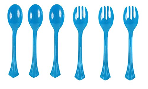Good Living 6 Piece Reusable Serving Spoon and Fork Set, Blue, 1-pack (6 Pieces)