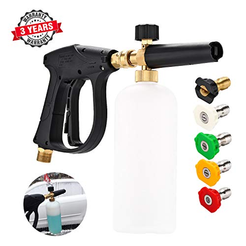 Cprosp 3000 Psi Max High Pressure Washer Gun M22 Thread Snow Foam Lance Car Snow Foam Cannon With 5pcs Multiple Spray Angles Quick Connect Nozzles