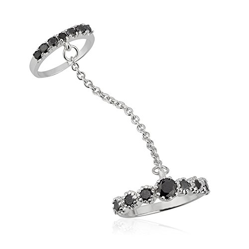 Chain Silver Toe Ring (925 Sterling Silver Black Cubic Zirconia CZ Double Above the Knuckle Midi & Finger Ring, Size 7)