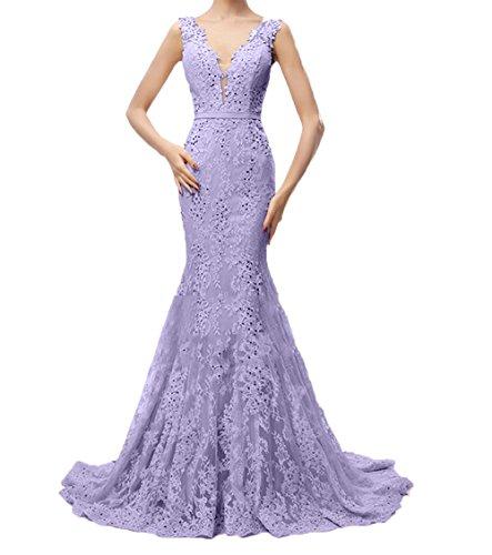 Charmant Damen Festlichkleider Lilac Abendkleider Trumpet Spitze Lang Etuikleider Ballkleider Partykleider Abschlussballkleider 44rpwd