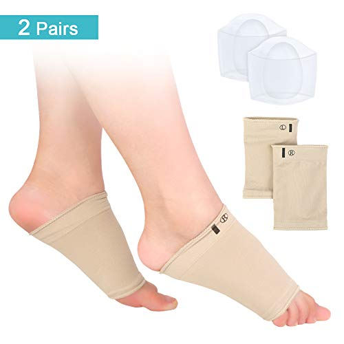 2 Pairs – Foot Arch Support Sleeves and Original Silicone Gel Pads Set, Compression Arch Cushion Socks with Pads for Heel Spurs and Plantar Fasciitis Pain Relief, Improve Flat Feet(Yellow)