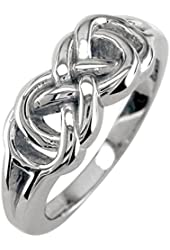 Mens or Womens Double Infinity Ring, 7.5mm in Sterling Silver